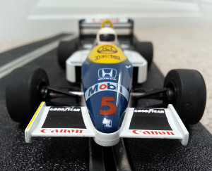 A close up of a Scalextric car (Nigel Mansell)